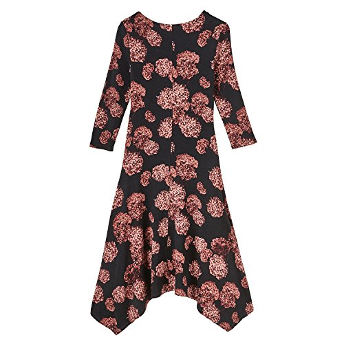 Print 4 Floating 3 Maxi Women's Dress Knit Sleeves Hydrangea Hw0qanPXx
