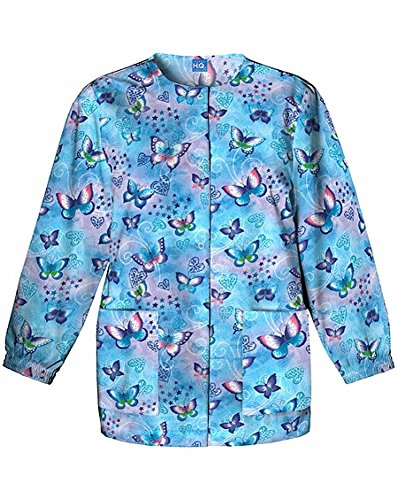Cherokee Scrub H.Q Women's Crew Neck Fly by Night Print Jacket X-Small ()