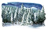 Laeacco Christmas Theme Backdrop Vinyl 8x6.5ft Dreamlike Snowy Forest Frosty Pine Trees Painting Photography Background Xmas Party Banner Child Kids Baby Portrait Shoot Wallpaper