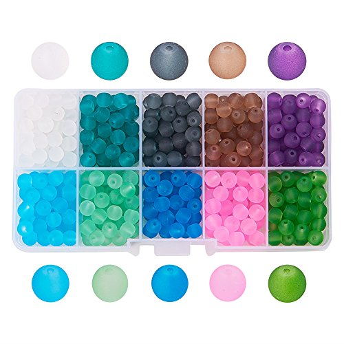 Pandahall 1 Box (about 600pcs) 10 Color 6mm Frosted Glass Bead Assortment Lot for Jewelry Making (Frosted Box)