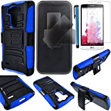 phone cases lg 3 vigor - LG G3 VIGOR Case Cover (not for G3) 3-items Bundle-HERCULES Dual- Layer Hard/Gel Hybrid Kickstand Armor Case w/ Holster (Black/Blue)+ICE-CLEAR(TM) Screen Protector Shield(Ultra Clear)+Touch Screen Stylus