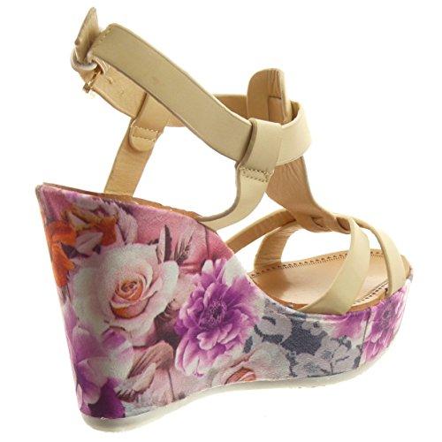 Sopily - damen Mode Schuhe Sandalen Offen T-Spange Multi-Zaum Blumen Schleife - Beige