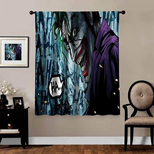 Premier Thermal Insulated Curtain Joker Laughing Dc Comics Machine Washable Width 274cm x HIGH 214cm