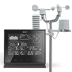 aom Weather Station with Dual Alarm Clock and Hygrometer Sensor, Temperature Alert, Humidity, Barometer, Hygrometer, Moon Phase, Air Pressure, Wind Speed, Wind Direction, Rain Gauge