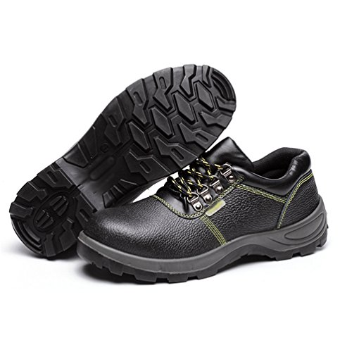 NiSeng Sicherheitsstiefel Männer Schuhe Stiefel Arbeit Stahlkappe Arbeitsschuhe Schutzschuhe Konstruktion Gummisohle Arbeitsstiefel Schwarz