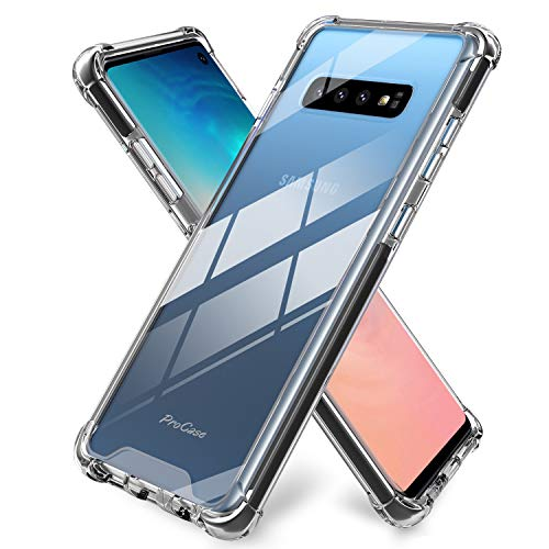 - ProCase Galaxy S10 Case Clear, Slim Hybrid Crystal Clear TPU Bumper Cushion Cover with Reinforced Corners, Transparent Scratch Resistant Rugged Cover Protective Case for Galaxy S10 2019 -Clear