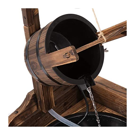 Worldrich 44-Inch Outdoor Garden Rustic Wood Wishing Well Water Fountain with Pump - UL Certified 120V Electric Pump- UL certified 120V electric pump serves as a powerful engine to keep the fountain flowing. High performance pump with 60Hz 3600r/min. Outdoor Deraction- This wishing well water fountain perfectly serves as a outdoor decoration for your backyard, patio, or garden. - patio, outdoor-decor, fountains - 51KAiyG7wxL. SS570  -