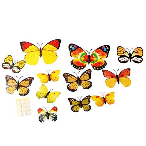 Wociaosmd Vogue Wall Sticker, 3D Rainbow Butterfly Wall Sticker Fridge Magnet Wedding Decoration Home 12pcs (A) ()