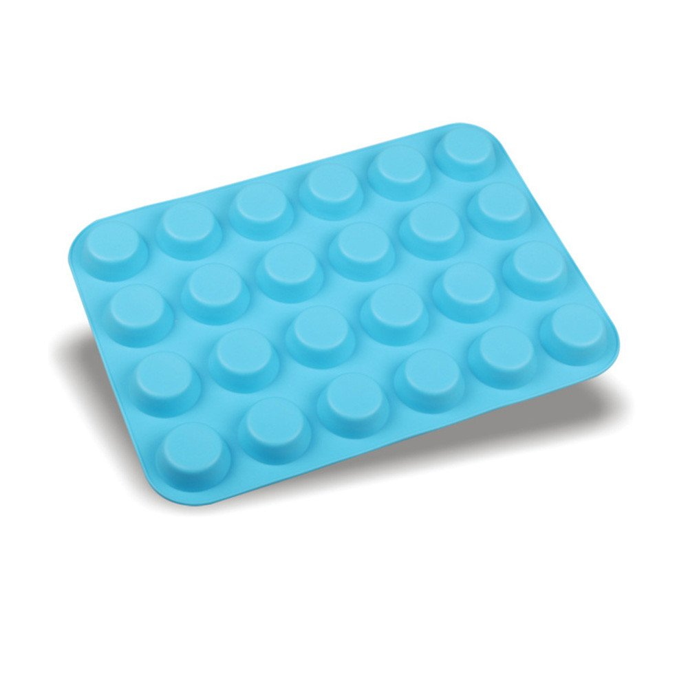 Hstore 24 Cavity Mini Muffin Biscuit Molds Cookies Cupcake Bakeware Pan Mould, Jelly Pudding Cake Baking Tools Decorating (Blue)