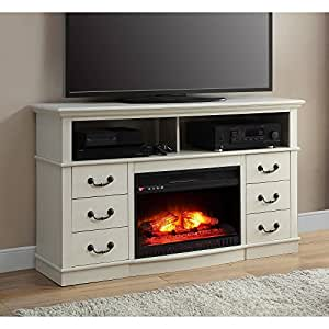 Antique white finish 60 better homes and gardens remote control fireplace media for Better homes and gardens fireplace