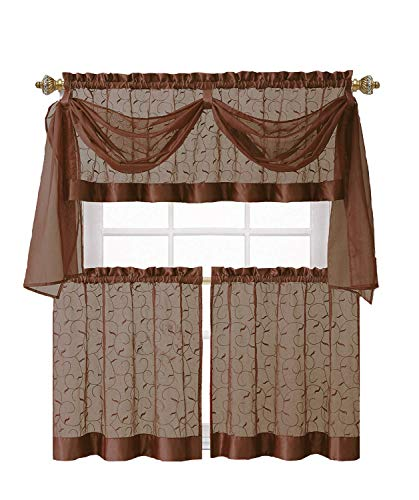 GoodGram Linen Leaf Embroidered Sheer Kitchen Curtain Set - Assorted Colors (Chocolate)