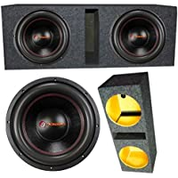 2 Qpower QPF12D 12 4 Ohm 3400W MAX Dual Enclosed Car Subwoofer Pair With Box