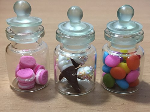 3pc Miniature Cookie Chocolate Cake Food Candy Dollhouse Cake in Clear Glass Mini Bottle fruit Food #MF030