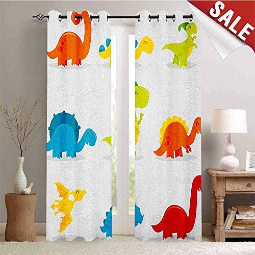 Hengshu Dinosaur Customized Curtains Cute and Funny Dinosaurs Set Cartoon Style Colorful Collection Kids Nursery Theme Window Curtain Drape W72 x L96 Inch Multicolor
