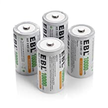 EBL D Cell Rechargeable Batteries 10000mAh 1.2V Ni-Mh 4 Pack D Size 1200 Cycle (Battery Case Included)