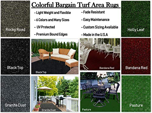100% Olefin Shaw Rugs - Colorful Indoor/Outdoor Bargain-Turf Area Rugs. Great for Gazebos, Decks, Patios, Balconies and Much More. Many Sizes and Colors to Choose from (12'x18', Granite Dust)