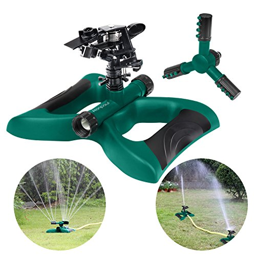 HonPaul Lawn Sprinkler Impact Sprinker 360 Degree Rotating Sprinkler Irrigation System Used for Garden Lawn Outdoor Automatic Sprinkler Oscillating Rotary High Impact Sprinkler System Two Different
