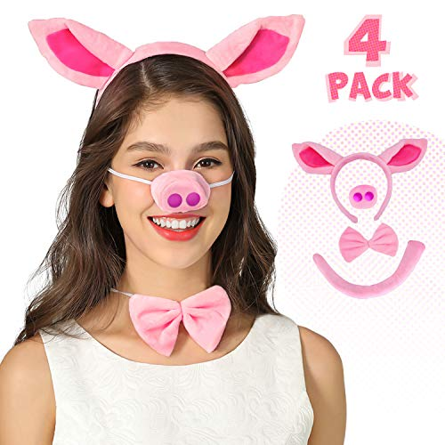 Pig Nose Ears and Tail Set Pig Ear Headband Costume Accessory Kit One Size ()