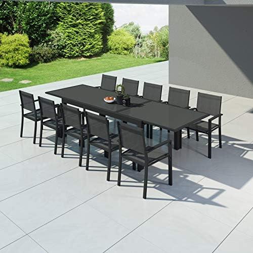 Hara XXL – Mesa de jardín extensible aluminio 200/320 cm + 10 ...