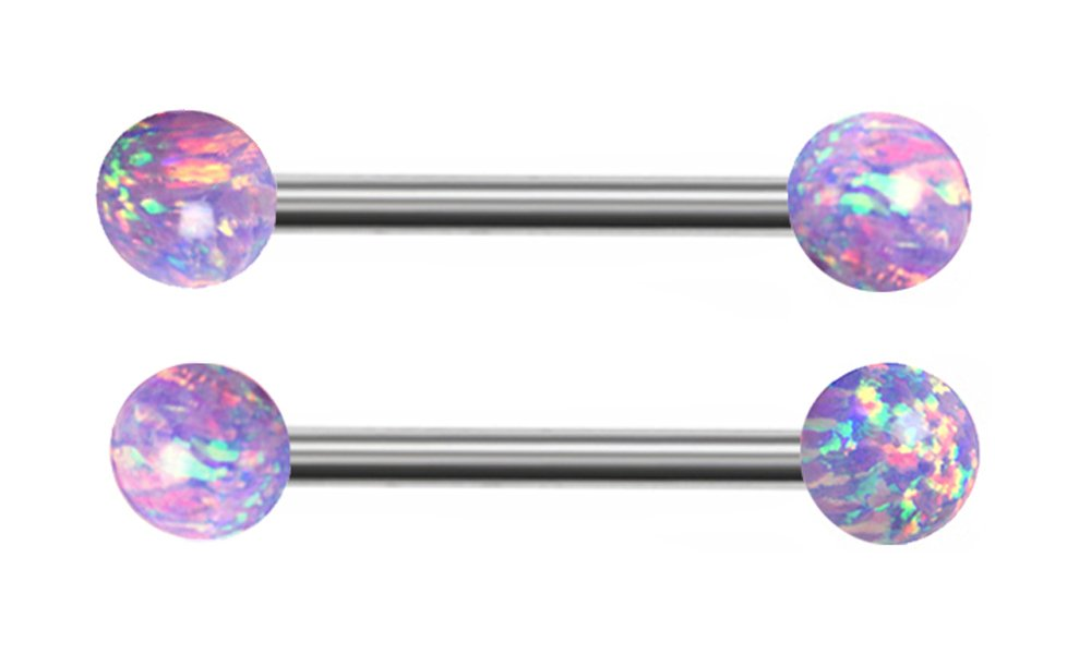 Pair of Sparkling synthetic Purple fire Opal Nipple rings body Jewelry piercing bar barbell ring 14g