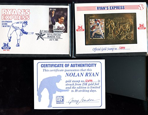 1995 SSCA St. Vincent And The Grenadines Gold Stamp Nolan Ryan Express