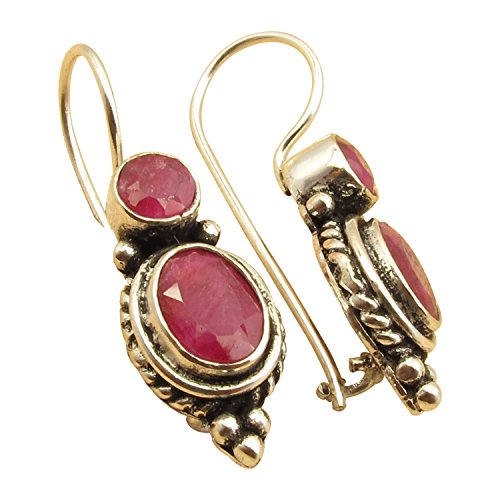2 GEMSTONE Vintage Style Oxidized EARRINGS ! 925 Sterling Silver Plated Online Jewelry Store