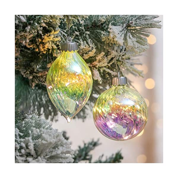 Valery Madelyn Palle di Natale Vetro Addobbi Natalizi Set, 4 Pezzi 9-11cm Battery Operated Palline di Natale Decoration for Addobbi Natalizi per Albero 7 spesavip