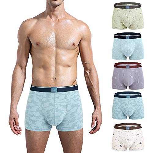 CSYER Mens Boxer Briefs Underwear Comfortable Cotton Breathable Tagless Short Leg Boxers Brief for Men Boys 5 Pack Medium
