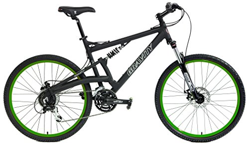 2018 Gravity FSX 2.0 Dual Full Suspension Mountain Bike Shimano Acera Suntour (Matt Black with Green Wheels, 15inch)