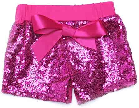 ff0b06d50 Digirlsor Baby Girls Sequin Shorts Toddler Kids Bowknot Cotton Short Pants  Sparkles on Front,1