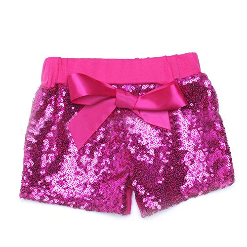 Digirlsor Baby Girls Sequin Shorts Toddler Kids Bowknot Cotton Short Pants Sparkles on Front,1-8Y]()