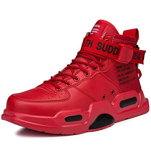 BAIQUAN Men Sneakers high top Running Shoes for Men Red