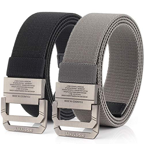 Hoanan Tactical Belts for Men 2Pack Elastic Stretch Military EDC Duty D-ring Belt 1.5