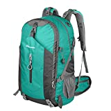 OutdoorMaster Hiking Backpack 50L - Weekend Pack w/ Waterproof Rain Cover & Laptop Compartment - for Camping, Travel, Hiking (LightGreen/Grey)
