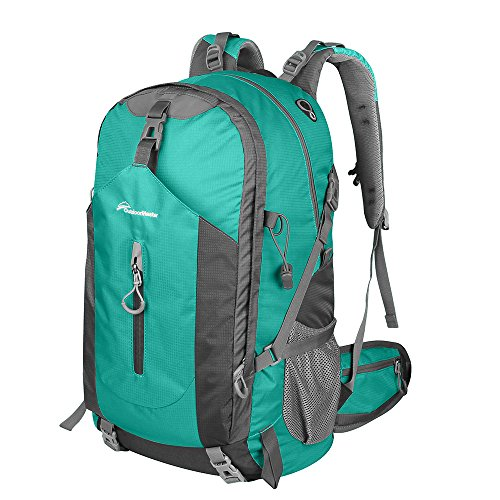 OutdoorMaster Hiking Backpack 50L - Hiking & Travel Backpack w/ Waterproof Rain Cover & Laptop Compartment - for Hiking, Traveling & Camping (LightGreen/Grey)