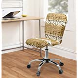 Stylish Faux Fur Task Chair for Bedrooms/Dorms, Adjustable & Comfortable Seat with a Height Lever (Snow Leopard)