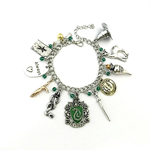 Slytherin Theme Multi Charms Lobster Clasp Bracelet in Gift Box -