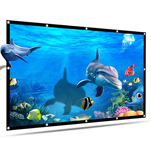 Projector Screen 100 Inch 16:9 HD,Vamvo Portable Projection Movies Screen Widescreen Foldable Anti-Crease Indoor Outdoor for Home Theater Support Double Sided Projection