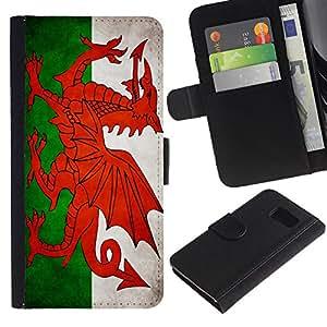 eJoy---La carpeta del tirón la caja de cuero de alta calidad de la PU Caso protector - Samsung Galaxy S6 - --Welsh Grunge Flag