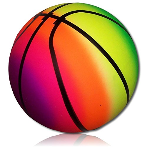 Custom & Unique {228mm} 1 Single, XL Size Super High Bouncy Balls, Made of Grade A+ Rebound Rubber w/ Bright Novelty Rainbow Neon Color Playground Sports Player Kick Basketball Ball Style (Multicolor)]()