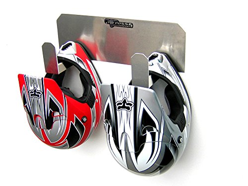 Helmet Small Race (Pit Posse PP125 Dual Helmet Rack Holder Aluminum Enclosed Race Trailer Shop Garage Storage Organizer)