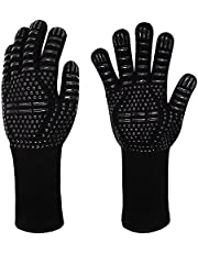 AUKE, BBQ Gloves 1472°F Extremely Heat Resistant Gloves, Silicone Non Slip Grilling Gloves, Insulating Gloves, for Grilling, Cooking, Baking, Welding