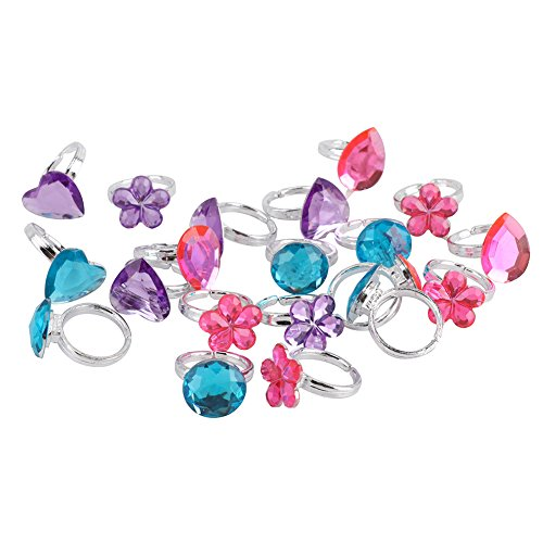 Yarssir Rhinestone Princess Rings - 30 Pcs Colorful Assorted Jeweled Gem Rings for Kids,Party Favors,Wedding Showers,Bridal Shower,Birthday,Halloween (Carnival Themed Wedding)