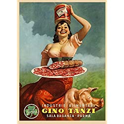 """Fashion Lady Pig Pork Leg Prosciutto di Parma Gino Tanzi Food Italy Italia Italian Vintage Poster Repro (12"""" X 16"""" Image Matte Paper)"""