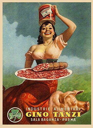 - Fashion Lady Pig Pork Leg Prosciutto di Parma Gino Tanzi Food Italy Italia Italian Vintage Poster Repro (12
