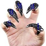 Kobwa(TM) 5pcs Black Punk Style Crystal Rhinestones Paved Claw Fake False Nails Set With Kobwa's Keyring