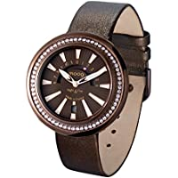 Moog Paris Night & Day Vogue Women's Watch with Chocolate Dial, Chocolate Genuine Leather Strap & Swarovski Elements - M45562-009