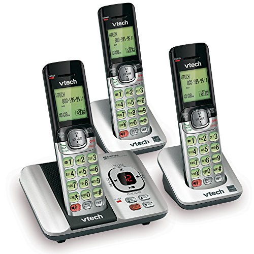 VTech CS6529-3 DECT 6.0 Phone Answering System with Caller ID Call Waiting with 3 Cordless Handsets - Silver Black