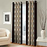 V Decor Fancy Eyelet Dhamas Single 1 Piece Polyester Brown Curtain,Window 5 Feet