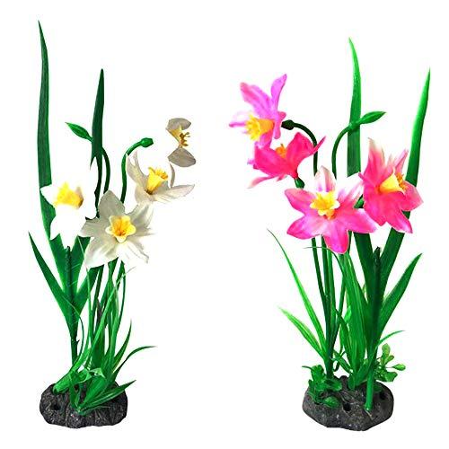 Daffodil Ornament - OTENGD 2PACK Aquarium Plants Fish Tank Decoration Plant Artificial Plastic Ornament Daffodil Safe Environmentally Friendly and Beautiful Pink White